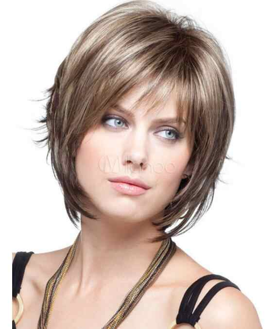 Wig  Light Brown Straight Hair Wigs Fashion Short Women's Wig  Free Shipping