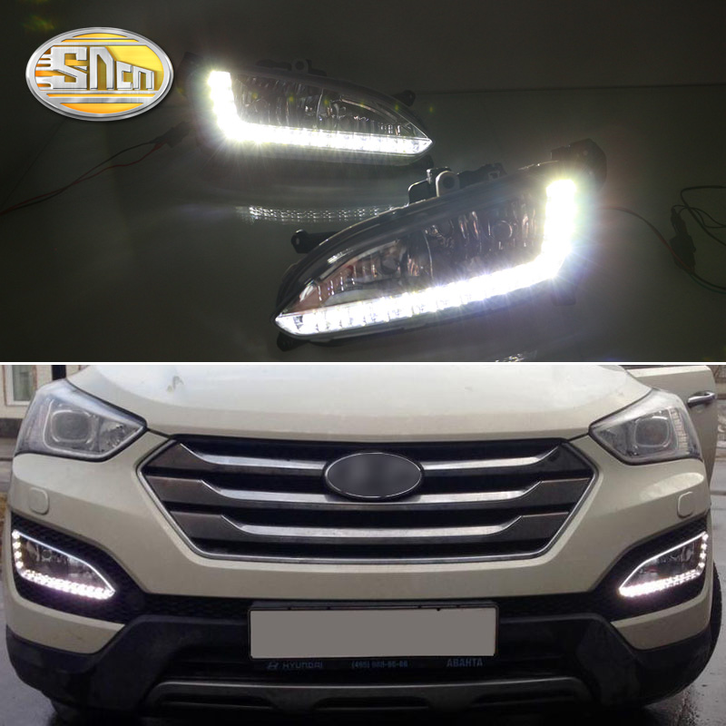 цена на For Hyundai Santa Fe IX45 2013 2014 2015,ABS Waterproof Super Brightness 30W 12V Car DRL LED Daytime Running Light SNCN