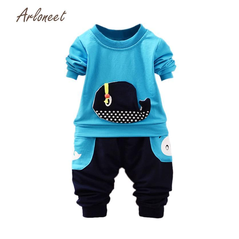 ARLONEET Childrens Sets children clothes cute boys clothes girls clothes sets Stereoscopic Whale Star Tops+ Pocket Pant Outfits