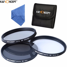 K&F CONCEPT Brand UV CPL ND4 Camera Lens Filter 52/55/58/62/67/72/77mm Cleaning Cloth+Filter Pouch For Nikon Canon DSLR Camera