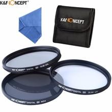 K & F مفهوم ماركة UV CPL ND4 عدسة الكاميرا تصفية 52/55/58/62/67/72/77 مللي متر تنظيف الملابس + تصفية الحقيبة لكاميرا نيكون كانون DSLR