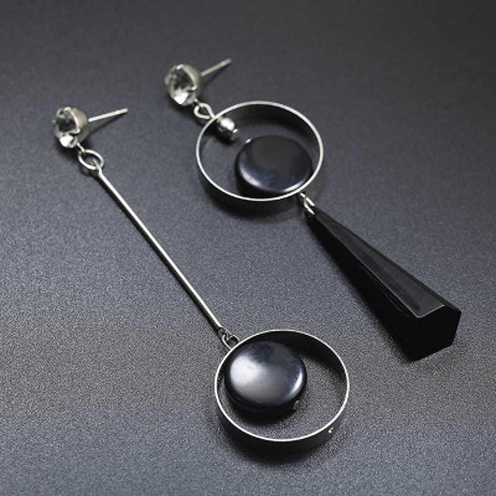 Koreański moda geometryczna długa asymetria kolczyk Rhinestone koło kolczyki do uszu akrylowe duże kolczyki Brincos Bijoux ze stali nierdzewnej