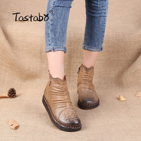 Tastabo Women Ankle Boots Hand Made Genuine Leather Woman Boots Spring Autumn Round Toe Zipper Shoes