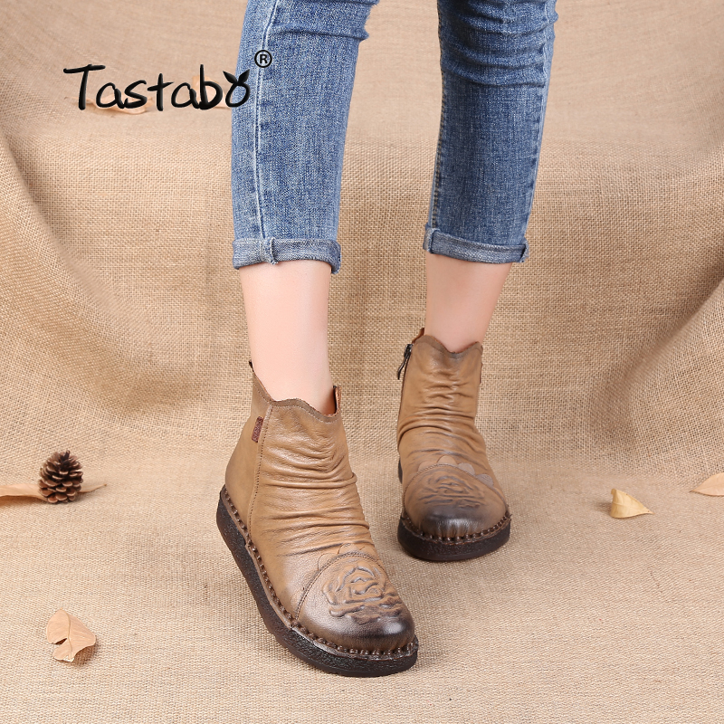 Tastabo Women Ankle Boots Hand-made Genuine Leather Woman Boots Spring Autumn Round Toe Zipper Shoes Female Footwear women ankle boots handmade genuine leather woman boots autumn winter round toe soft comfotable retro boot shoes female footwear