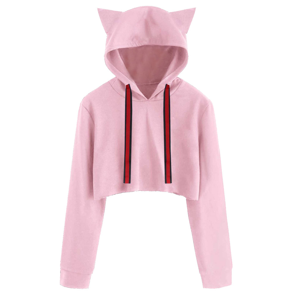 US Women Cat Ear Girls Hoodie Sweatshirt Hooded Coat Pullover Tops Blouse Jumper