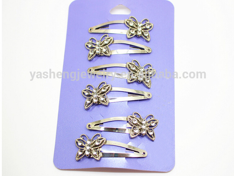 Wholesales 6pcs/lot fashion hair accessories bright silver butterfly with rhinetone hairpins and metal hair snap clips Hairgrips 6 pcs lot metal plating processing leather handbag aglet link buckle decorative accessories