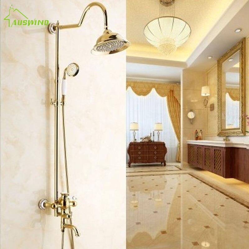 Golden Shower Set Europe Antique Shower Head Brass Shower Suit Hot And Cold Bathroom Hardware Accessories