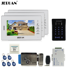 "JERUAN Home 7"" video door phone intercom system kit 3 monitor RFID Access system waterproof touch key password keypad Camera"