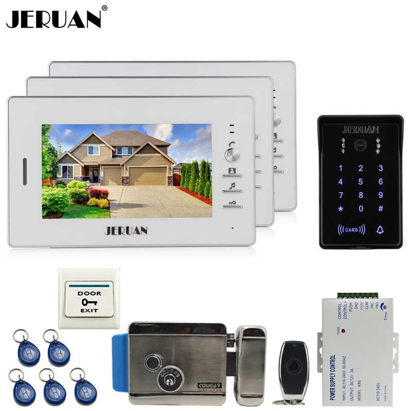 JERUAN Home 7`` video door phone intercom system kit 3 monitor RFID Access system waterproof touch key password keypad Camera многоцелевая смазка lavr lv 40 210 мл