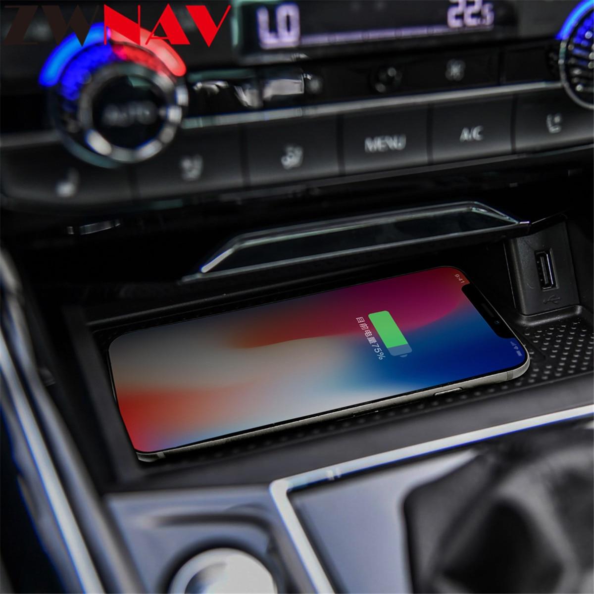 Chargeur sans fil de voiture QI pour VW Volkswagen t-roc Passat Intelligent infrarouge rapide sans fil de charge de voiture support pour téléphone pour iphone