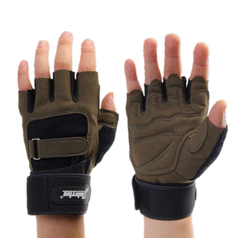 Fitness Gym Sport Half Finger Gloves Crossfit gloves Cuff lengthened Male Horizontal Bar Pull Dumbbell Training Gym Equipment худи print bar gym woof