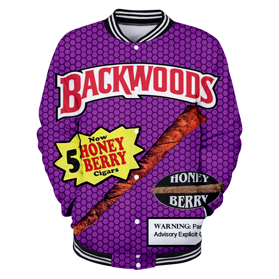 Free Shipping Backwoods 3D Print Brand Fashion Anime Print Cool Baseball Jacket For popular Hot Game Long Sleeve Basebal Jacket
