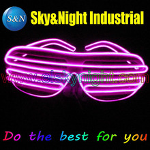 Shutter Led GLasses-Pink-New Arrival EL Wire Glowing Flash Glasses with Battery Box for DJ/Party/Christmas Holiday