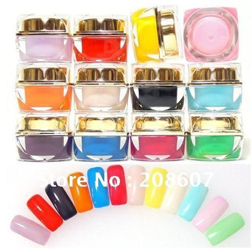 Free Shipping 12 Colors Nail Art  Polish Color Opaque Gel UV Gel 7ml/pot Wholesales