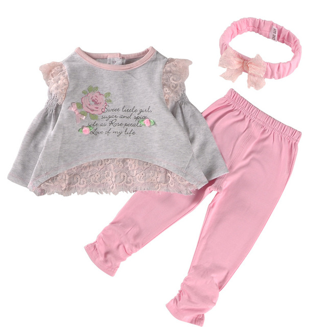 2016 New Srping Long Sleeve Baby Girl Clothes Set Cotton Lace Baby Girl Clothing Sets High Quality Newborn Infant Clothing