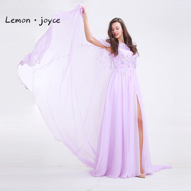 Light Purple Evening Dresses 2018 Scoop Neck Sleeveless With Jacket Appliques Beading Chiffon Party Gown Special Occasion Dress