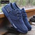 New 2018 Spring Autumn Fashion Denim Men's Canvas Shoes with Velvet Breathable Lace up Warm Skate Shoes Man size 44