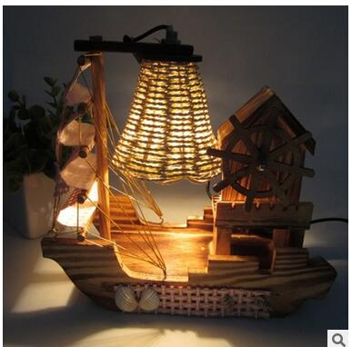 Wooden house windmill music box sailing table lamp wood environmental protection small night light wooden table Decoration home