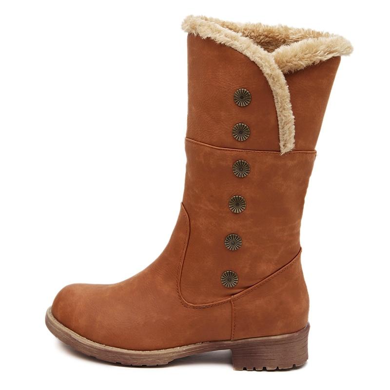026d741e90127 Botas de invierno otoño botas de cuero de la pu zapatos mujer botas de  nieve nuevo 2016 última moda mediados de becerro hebilla