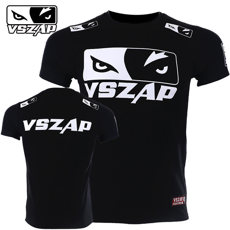 VSZAP Wolf Eyes T-Shirt Men UFC Fitness Sanda Tee Shirt Muay Thai Fight Sporting Workout MMA Fighting Fightwear Martial Arts