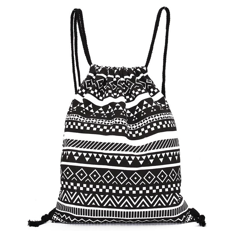Fashion linen drawstring bag women men Unisex Retro Geometric Printing Bags Drawstring travel bag men elastic foot drawstring jeans