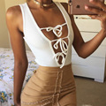 BKLD 2017 Womens White Rompers Sexy Sleeveless Deep V Lace Up Tie Front Bodysuit Knitted Jumpsuits Summer Beach Bodycon Overalls