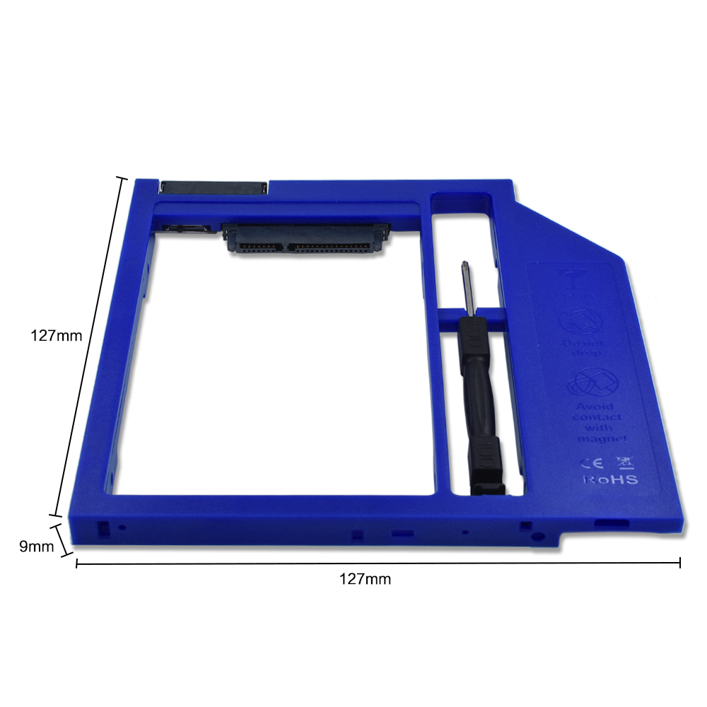TISHRIC Blue Plastic HDD Caddy 9.5mm SATA 3.0 Optibay Hard Disk Drive BOX 2.5