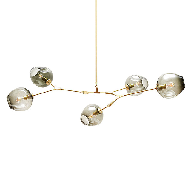 Modern Glass Ball Branching Bubble Chandeliers Lights Black Gold Lindsey Adelman Pendant Lamp For Bar