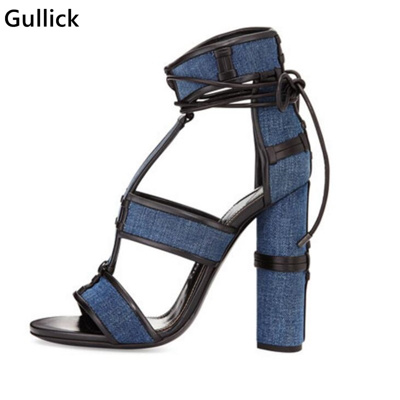 2018 Blue Denim Patchwork Chunky High Heels Sandals Sexy Peep Toe Hollow Out Woman Rome Style Sandals Woman Prom Dress Shoes blue jeans bota feminina 2017 summer shoes ankle boots for women cowboy denim high heels sexy peep toe tear hollow out sandals