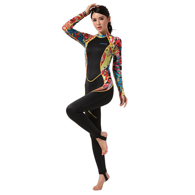 Hisea seac  women Lycra wetsuit fullbody Jumpsuit Hooded Dive Skins Full Body Rash Guards Fabric Surfing Suit one piece swimwear