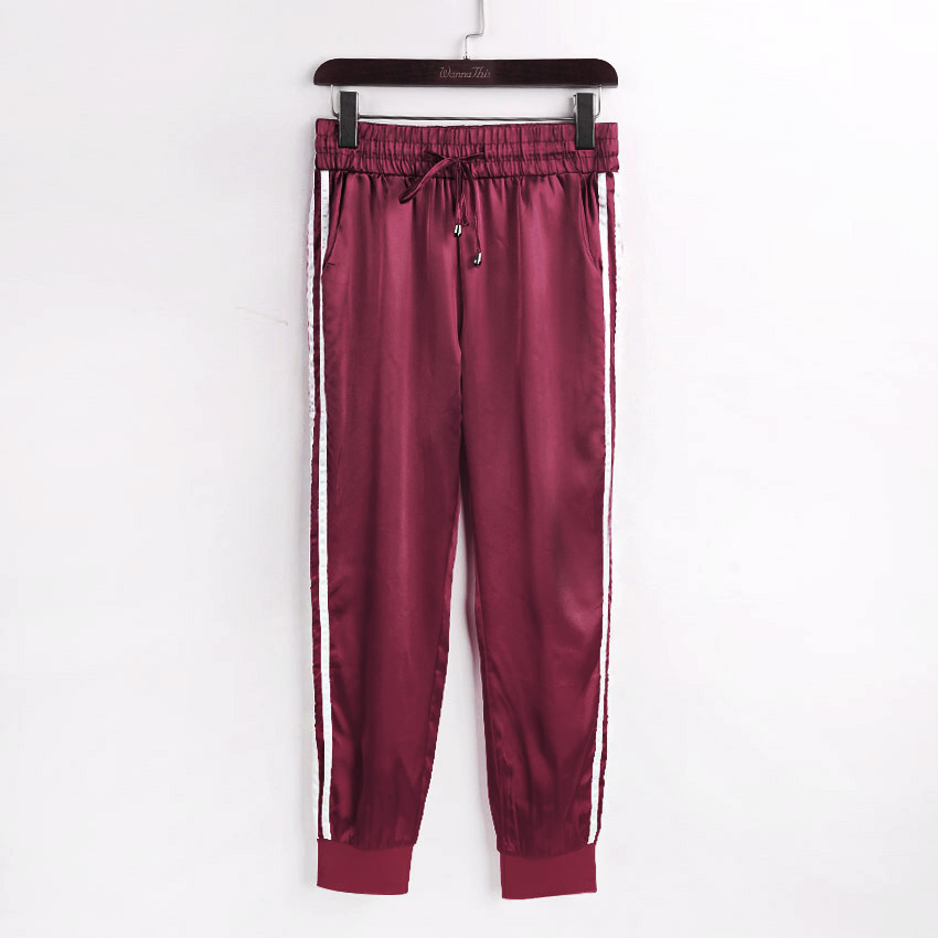 WannaThis Autumn Winter Satin Sets Women Zipper Side Stripe Crop Tops Drawstring Calf Length Pants Sexy Workout Tracksuits in Women 39 s Sets from Women 39 s Clothing