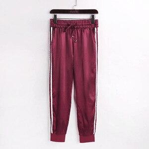 Image 5 - WannaThis Autumn Winter Satin Sets Women Zipper Side Stripe Crop Tops Drawstring Calf Length Pants Sexy Workout Tracksuits