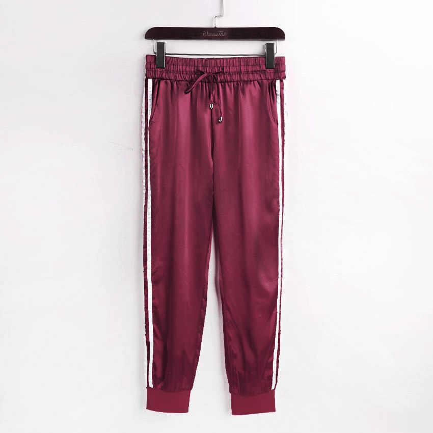 Wannathis Musim Gugur Musim Dingin Satin Set Wanita Ritsleting Sisi Stripe Crop Atasan Serut Betis Panjang Celana Seksi Latihan Baju Olahraga