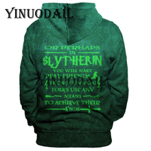 Green Gryffindor Fans Made 3D Printed Hoodie with Pocket Ravenclaw for Harry Adult Unisex Costume Voldemort Sweatshirt
