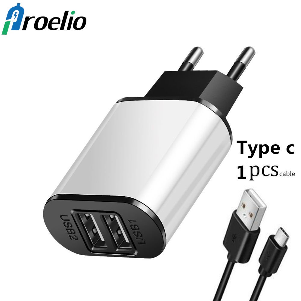 Mobile Phone Charger 5V2.1A USB Travel Charger Portable Wall Adapter EU Plug Black White USB Charger With Type-C Type C Cable