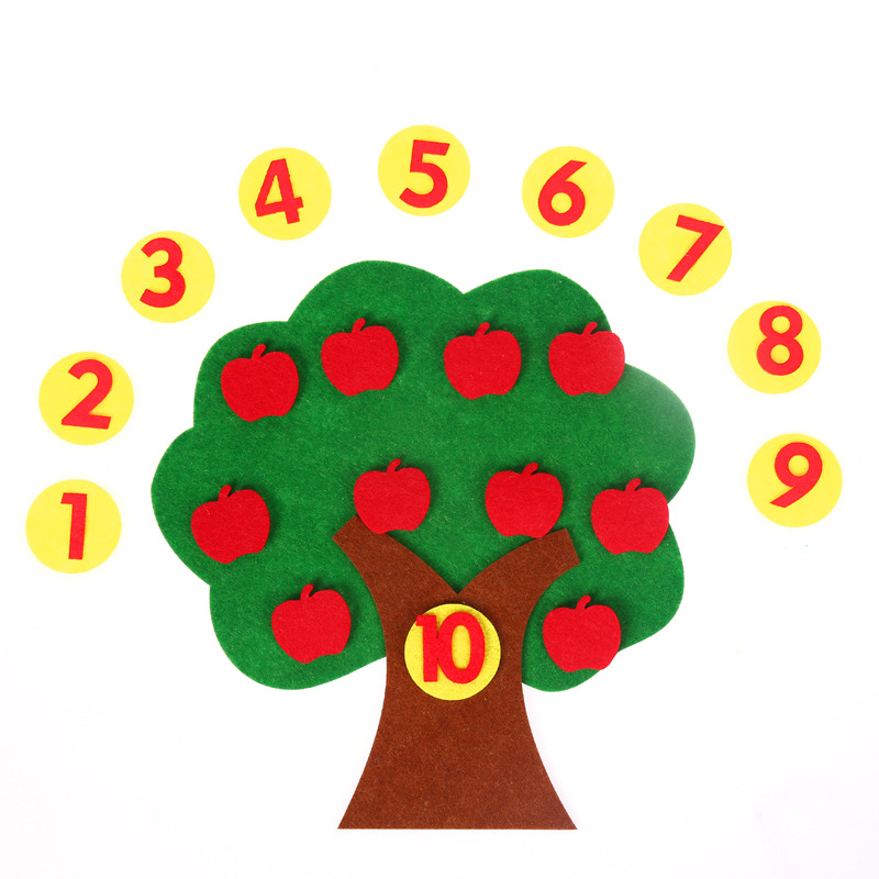 Felt Cloth DIY Children Educational Toy Durable Digital Cognitive Child Montessori Education Supplies Apple Tree Toys Kids BS83