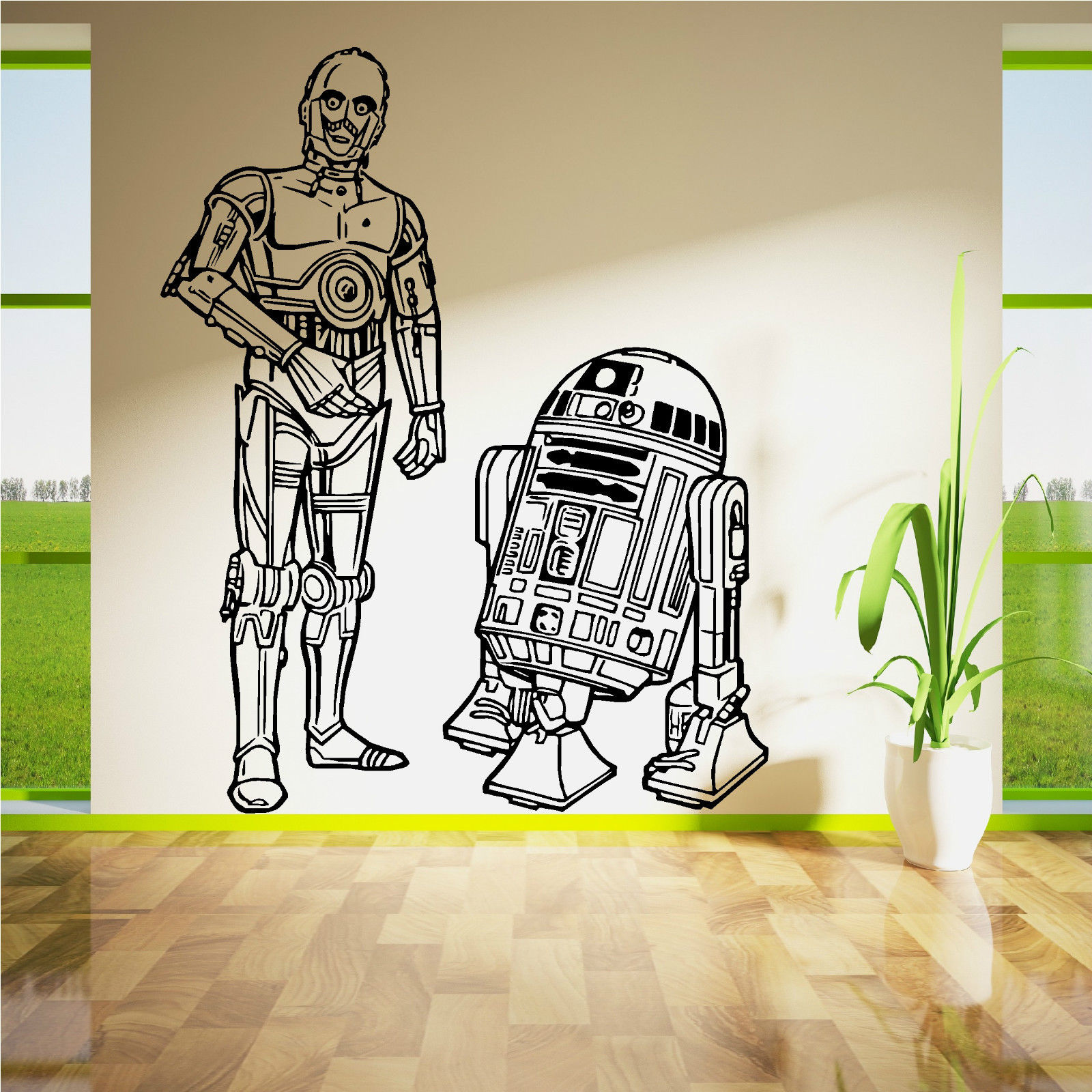 D253 STAR WARS R2D2 AND C3PO DROIDS DUO VINYL WALL ART ROOM STICKER DECAL