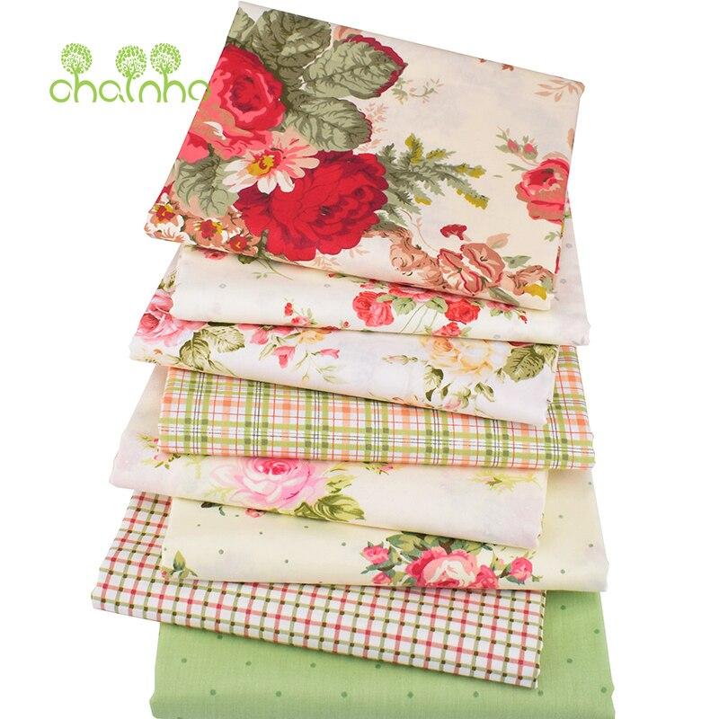 Chainho, 8 pcs/lot, tissu de coton sergé imprimé Rose, tissu Patchwork pour bricolage Quilting couture bébé et enfants draps matériel de robe