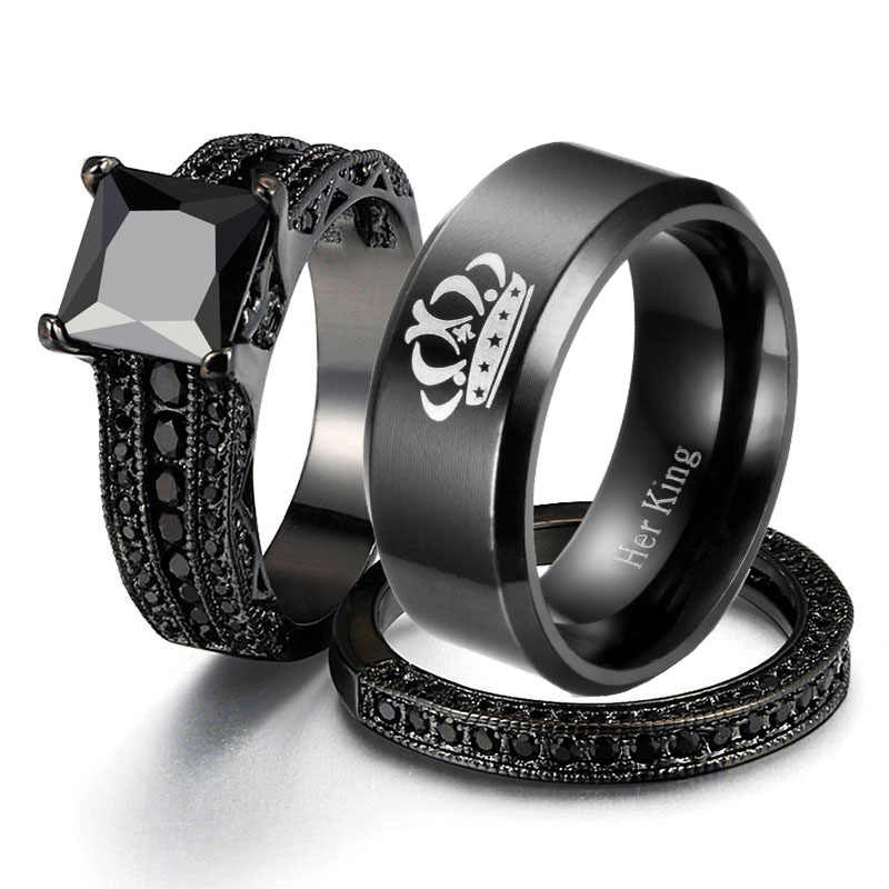 Vintage Jewelry Stainless steel crown Wedding Party Band Ring Black Gold Filled  Black Zircon Couple Rings For Women and Men