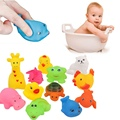 12Pcs/set Animals Play Toys Cute Soft Rubber Float Sqeeze Sound Wash Bath Play Bathing Swimming Play Toys For Baby Children