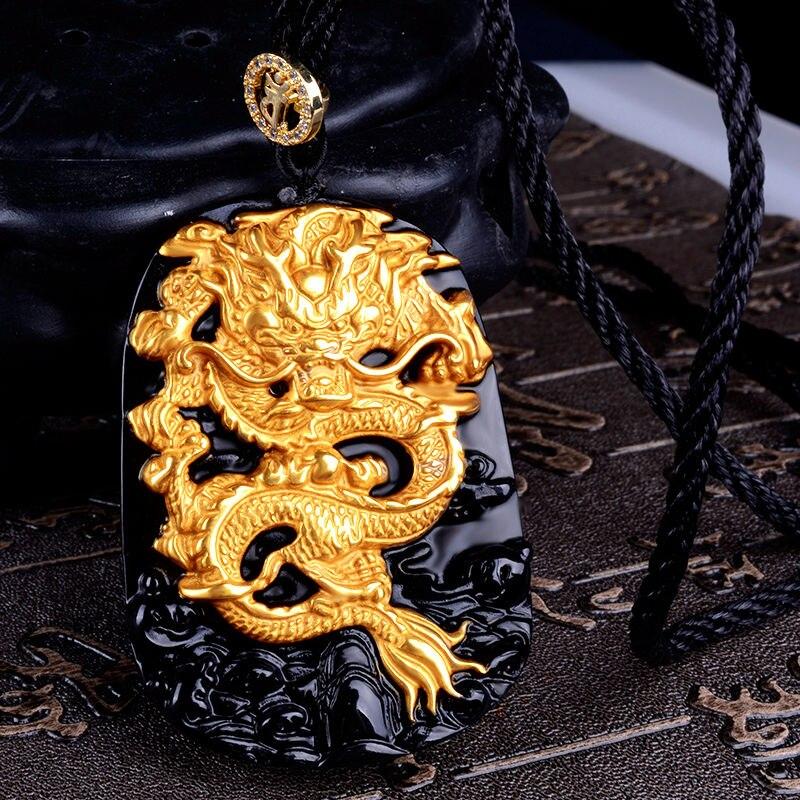 Eine gold halskette und obsidian Drachen Drachen Anhänger herrschsüchtige transport Zhaocai goldene jahr fate