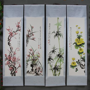 Four finished pieces of mounted banners of Chinese painting celebrities can be directly linked to the ink painting Mei Lan Zhu J