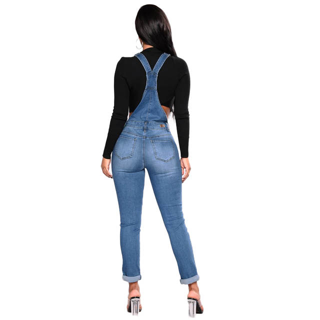 85049b95f36c placeholder 2019 New Women Denim Overalls Ripped Stretch Dungarees High  Waist Long Jeans Pencil Pants Rompers Jumpsuit