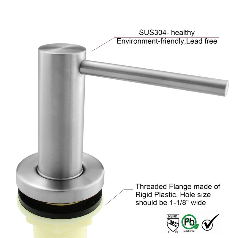 Solid 304 Nickel Brushed Stainless Steel Kitchen Sink Liquid Soap Dispenser Build In Hand Pump Bottle