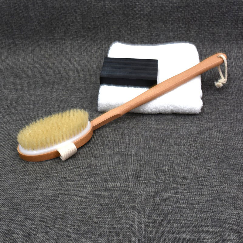 2019 Hot Sale Natural Long Wooden Bristle Body Brush Massager Bath Shower Back Spa Detachable Scrubber High Quality Wyt77