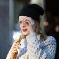2014 del envío del Nuevo Mujeres Niñas de Invierno de La Moda Retro Caliente de Esquí de punto velo de Malla neto Sombreros Beanie Cap