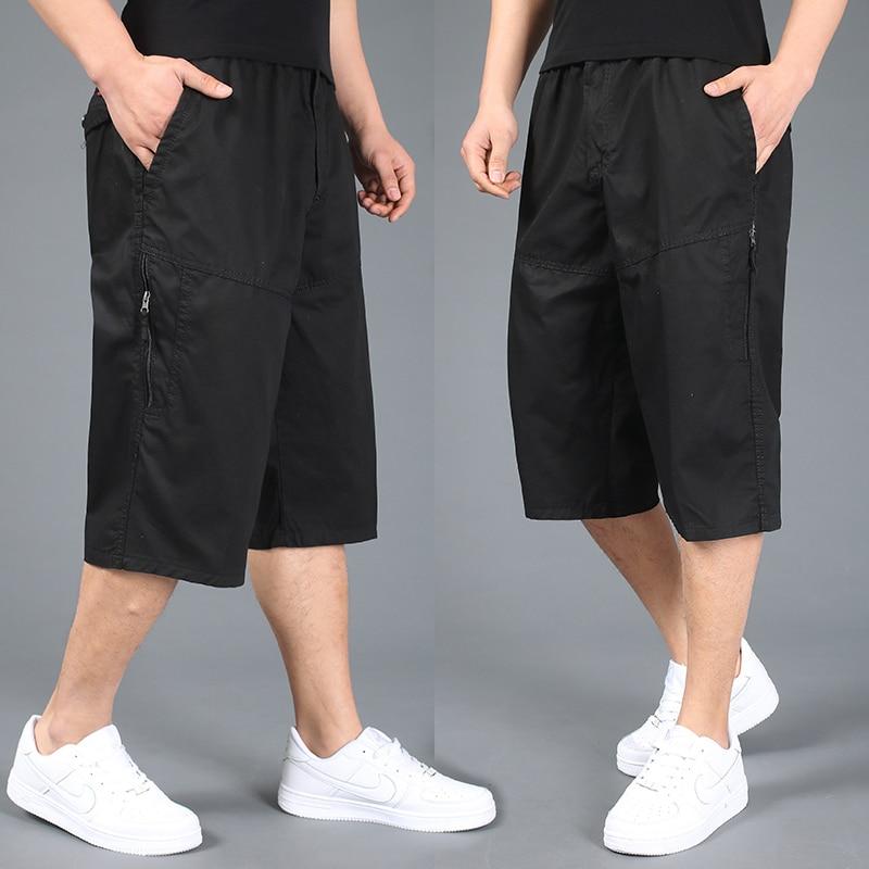 86 Free shipping summer plus size men shorts xxl 4xl 5xl 6xl cotton casual shorts khaki elastic waist short trousers hiphop