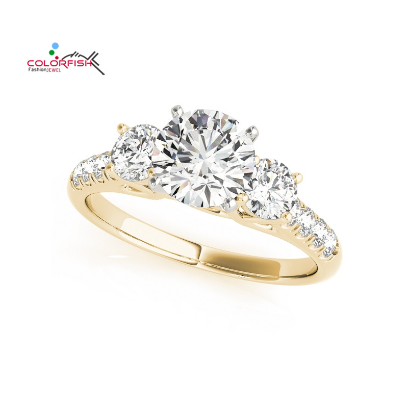 COLORFISH Luxury Women Finger Three Stones Ring 1 Carat Round Cut Sona 925 Sterling Silver Wedding Engagement Lady Ring Gift