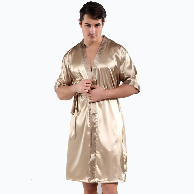 2018 New Spring Luxury Bathrobe Mens Print Free Size Silk Satin Pajamas  Kimono Summer Male Nightgown Chinese Silk Robe 7a5e63a70