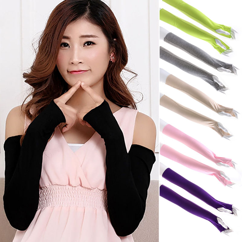 Women Arm Cover Cotton Long Fingerless UV Sun Protection Golf Cover Mittens